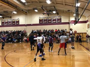 HS staff vs student b.ball game