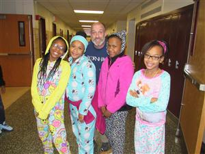 PJ school-wide celebration- Mr. Garrity with students